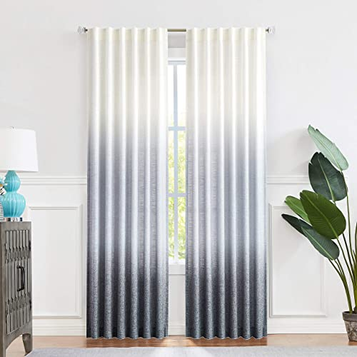 Central Park Ombre Window Curtain Panel Linen Gradient Print on Rayon Blend Fabric Backtab Rod Pocket Drapery Treatments