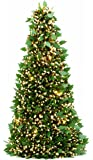 Festive Die Cut Holly Dark Pine and Gold Chunky Loop Tinsel Christmas Tree 50 cm, With 25 Warm White Battery Operated LED Lights