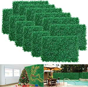 12pcs Boxwood Panels 24 X16 Artificial Faux Hedge Plant For 31 Sq Feet Per Boxwood Hedge Set Use For Uv Protection Indoor Outdoor Fence Privacy Screen Grass Wall Greenery Backdrop Garden Outdoor