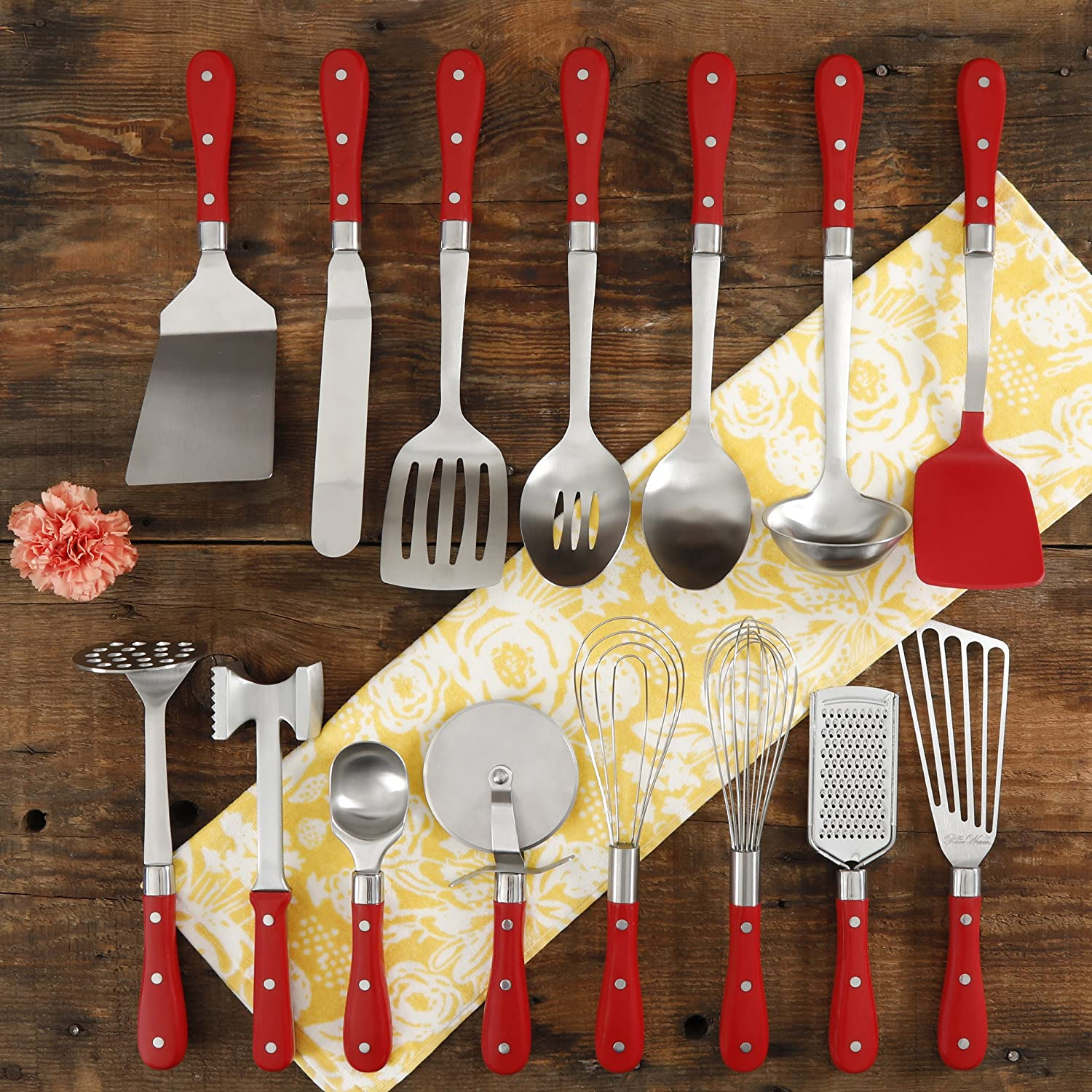 Frontier Collection 15-Piece All In One Tool And Gadget Set In Red, Made of Stainless Steel, Nylon and Riveted ABS Handles, Dishwasher Safe