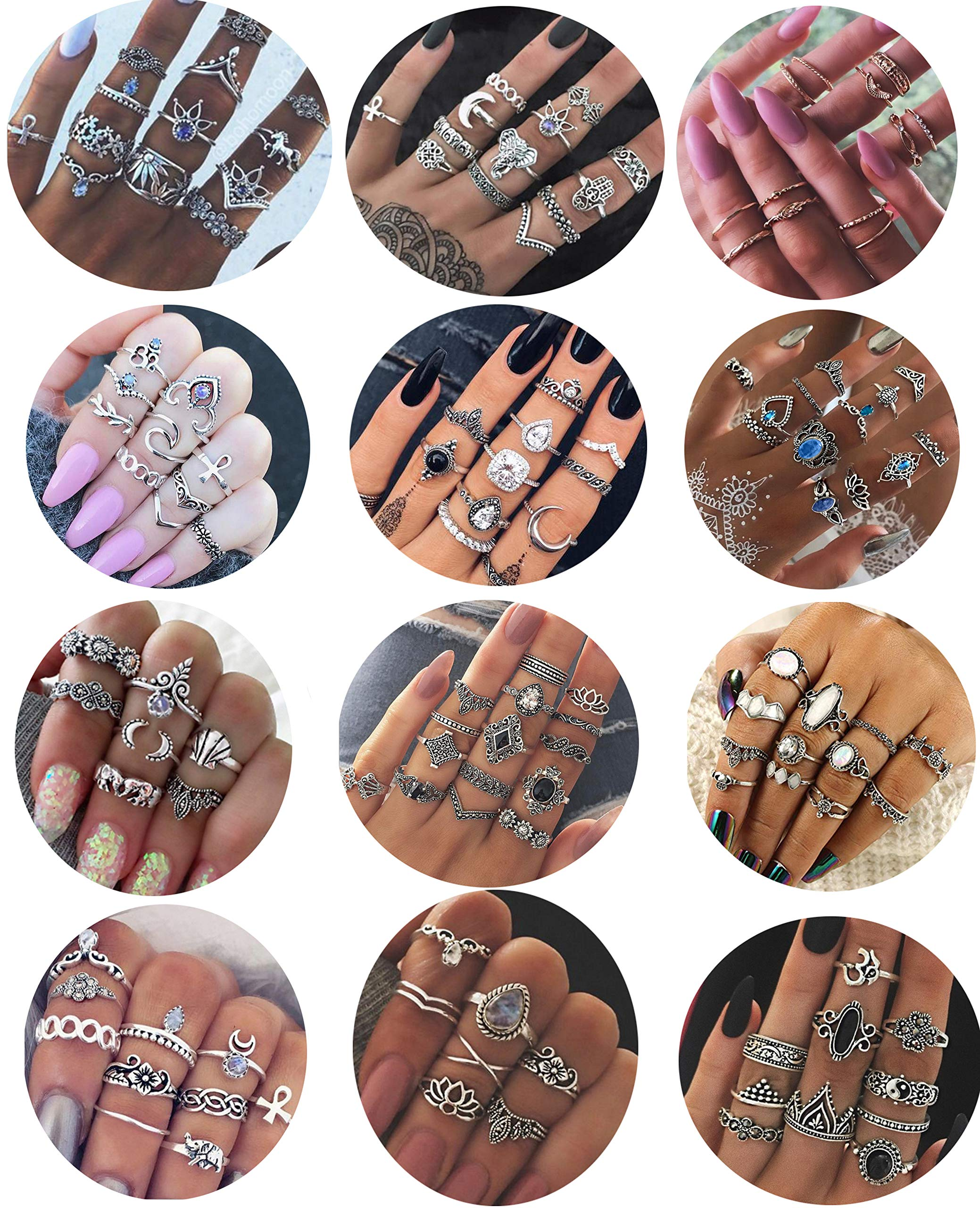 LOYALLOOK 132PCS Bohemia Knuckle Ring Set Women Girls Hollow Silver Fashion Finger Rings Vintage Stackable Knuckle Midi Rings Set