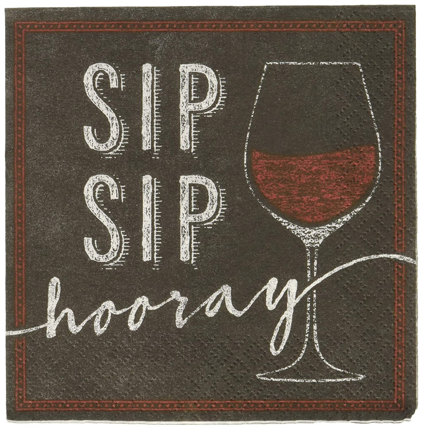 Creative Converting Wine Glass Sip Hooray Birthday Party Paper Beverage Napkins Supplies, One Size, Multicolor 322309