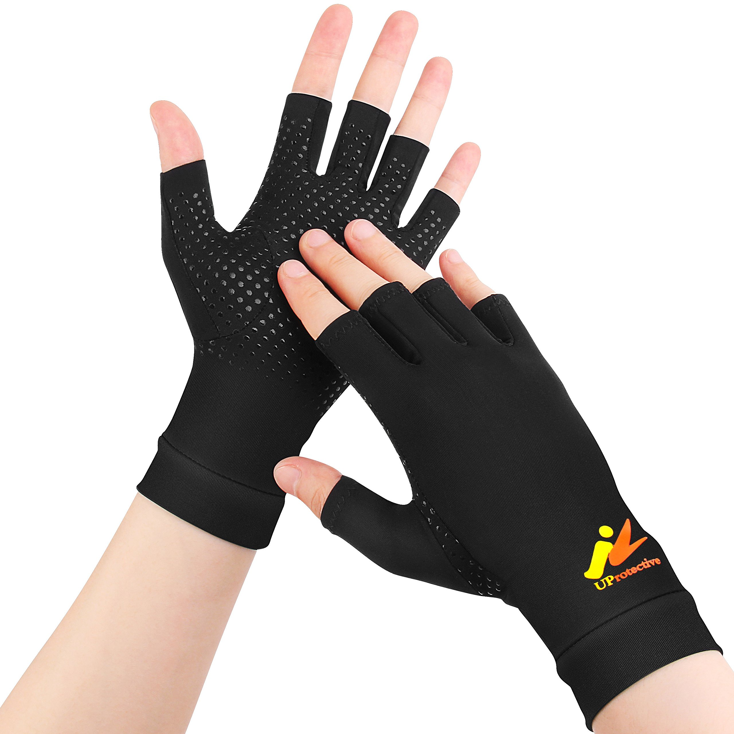 UProtective Arthritis Gloves Highest Copper Material Compression Relieve Pain Support for For Carpal Tunnel/Computer Typing/Writing/Dailywork/Tendonitis Fingerless Gloves (Small)