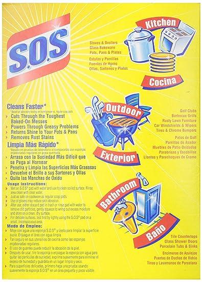 S.O.S 98018 S.O.S jabón de lana de acero almohadillas 18 ...