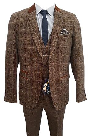 Hombre Marc Darcy Vintage Tweed Cuadros Traje De 3 Piezas ...