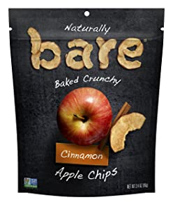 bare Baked Crunchy Apple Chips, Cinnamon, 3.4oz Shareable Bag
