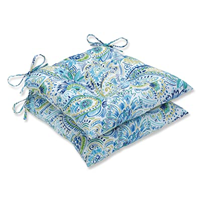 "Pillow Perfect Outdoor/Indoor Gilford Baltic Tufted Seat Cushions (Square Back), 19"" x 18.5"", Blue, 2 Pack: Home & Kitchen"