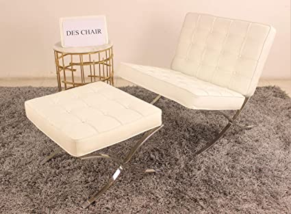 Surprising Premium Genuine Leather Replica Barcelona Chair And Ottoman Set White Caraccident5 Cool Chair Designs And Ideas Caraccident5Info