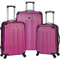 Travelers Club Chicago Hardside Expandable Spinner Luggage, Fuchsia, 3-Piece Set (20/24/28)