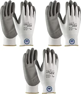 3 Pair Pack Great White 3GX 19-D322 Cut Resistant Work Gloves, ANSI Cut Level 3,Dyneema/Lycra with Polyurethane Coated Palm and Fingers, Gray/White (Medium)
