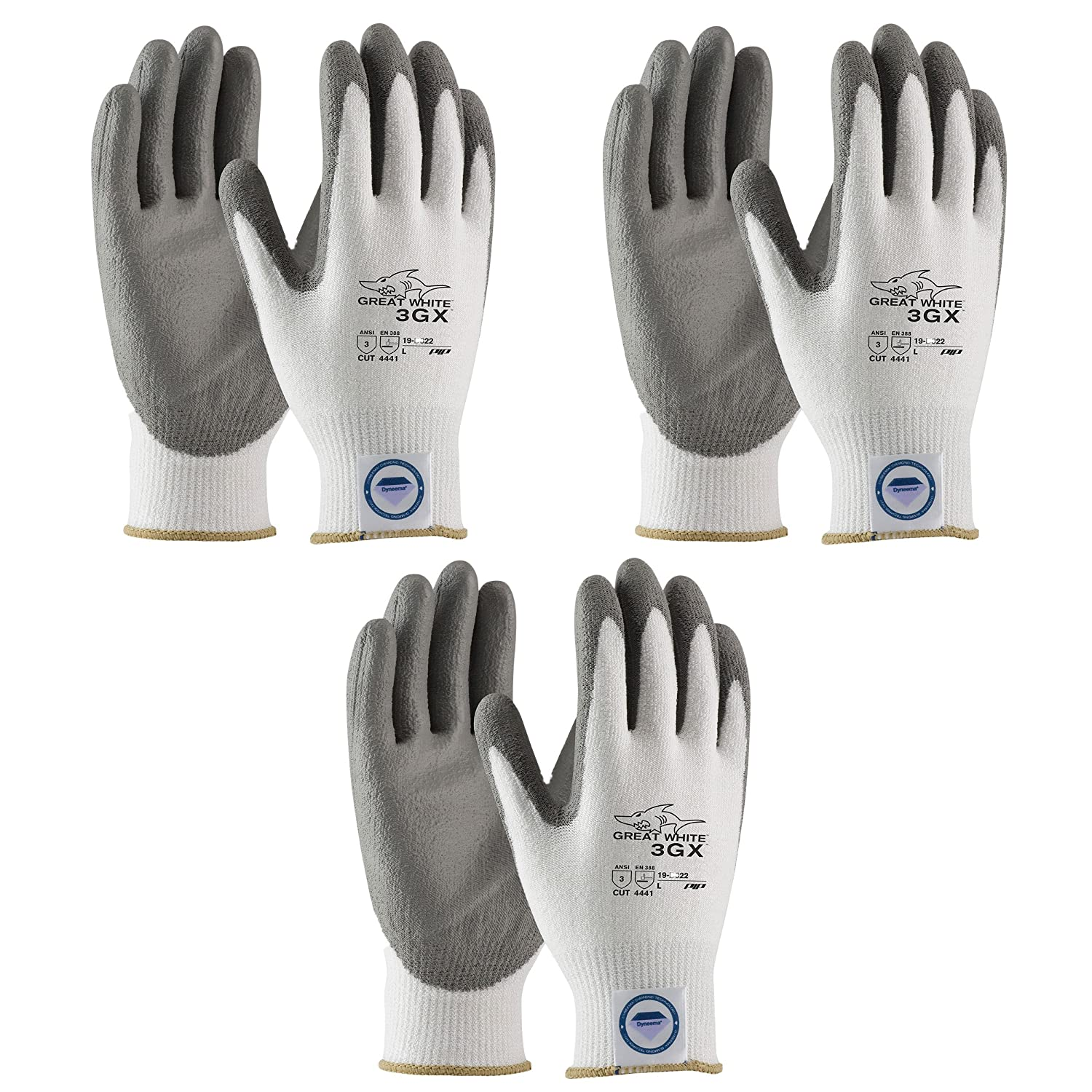 3 Pair Pack Great White 3GX 19-D322 Formerly (19-D622) Cut Resistant Work Gloves, ANSI Cut Level 3,Dyneema/Lycra with Polyurethane Coated Palm and Fingers, Gray/White (Large)