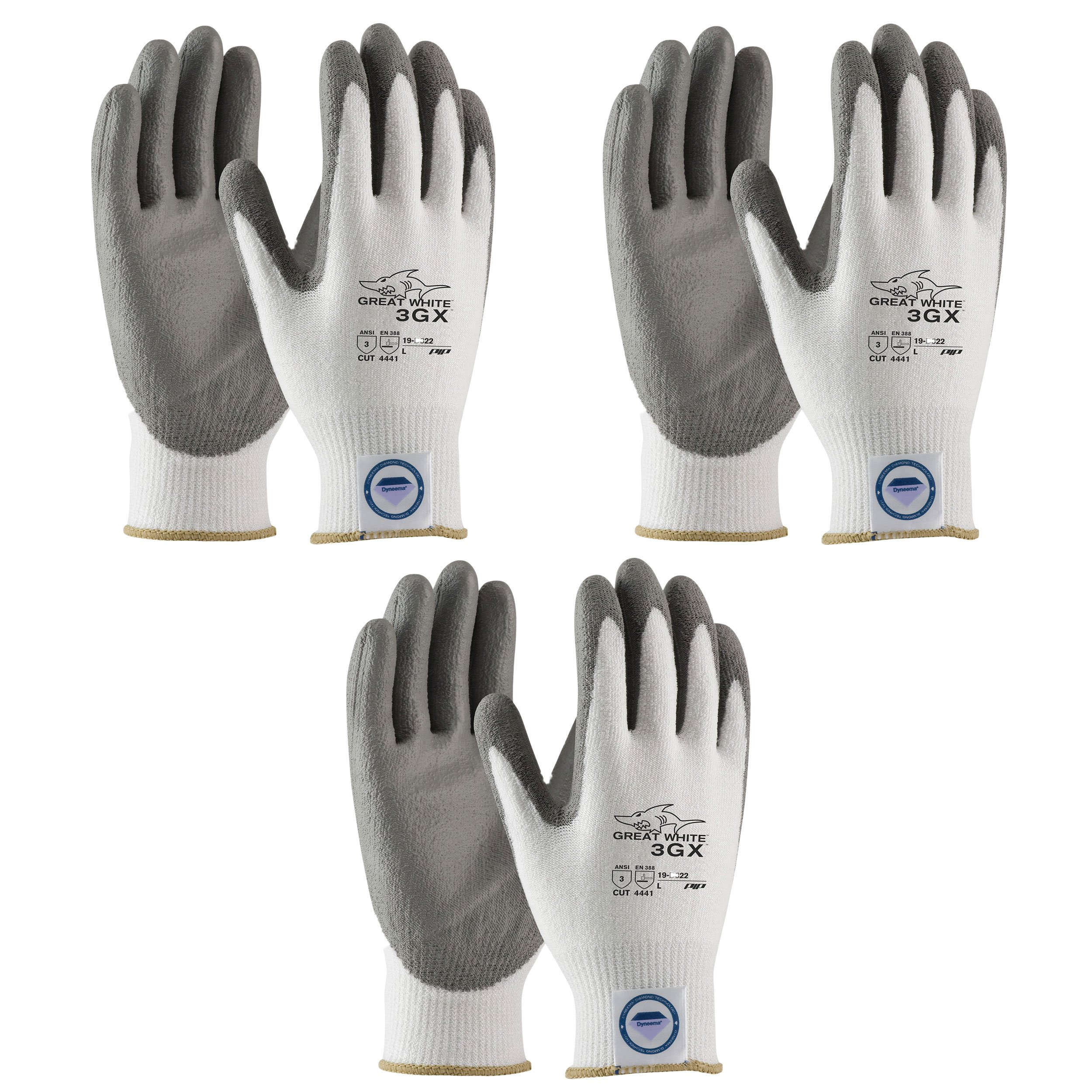 3 Pair Pack Great White 3GX 19-D322 Cut Resistant Work Gloves, ANSI Cut Level 3,Dyneema/Lycra with Polyurethane Coated Palm and Fingers, Gray/White (Small)