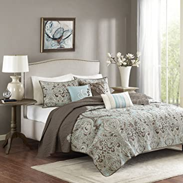 Madison Park MP13-1679 Geneva 6 Piece Quilted Coverlet Set, Brown
