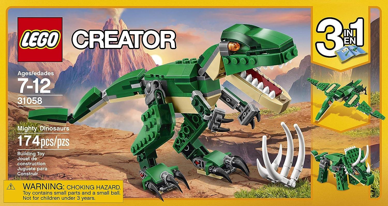 Building LEGO Set Creator Mighty Dinosaurs 31058 Dinosaur TRex 3 in 1 Model Toy