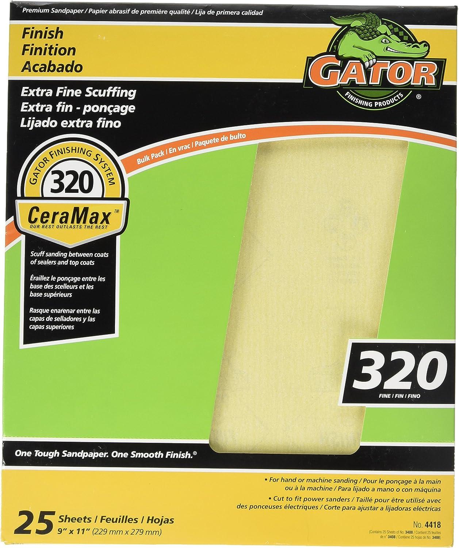 10 Piece ALI INDUSTRIES 4418 25PK9x11 320 Grit Fine Bulk Premium Ceramic Sandpaper