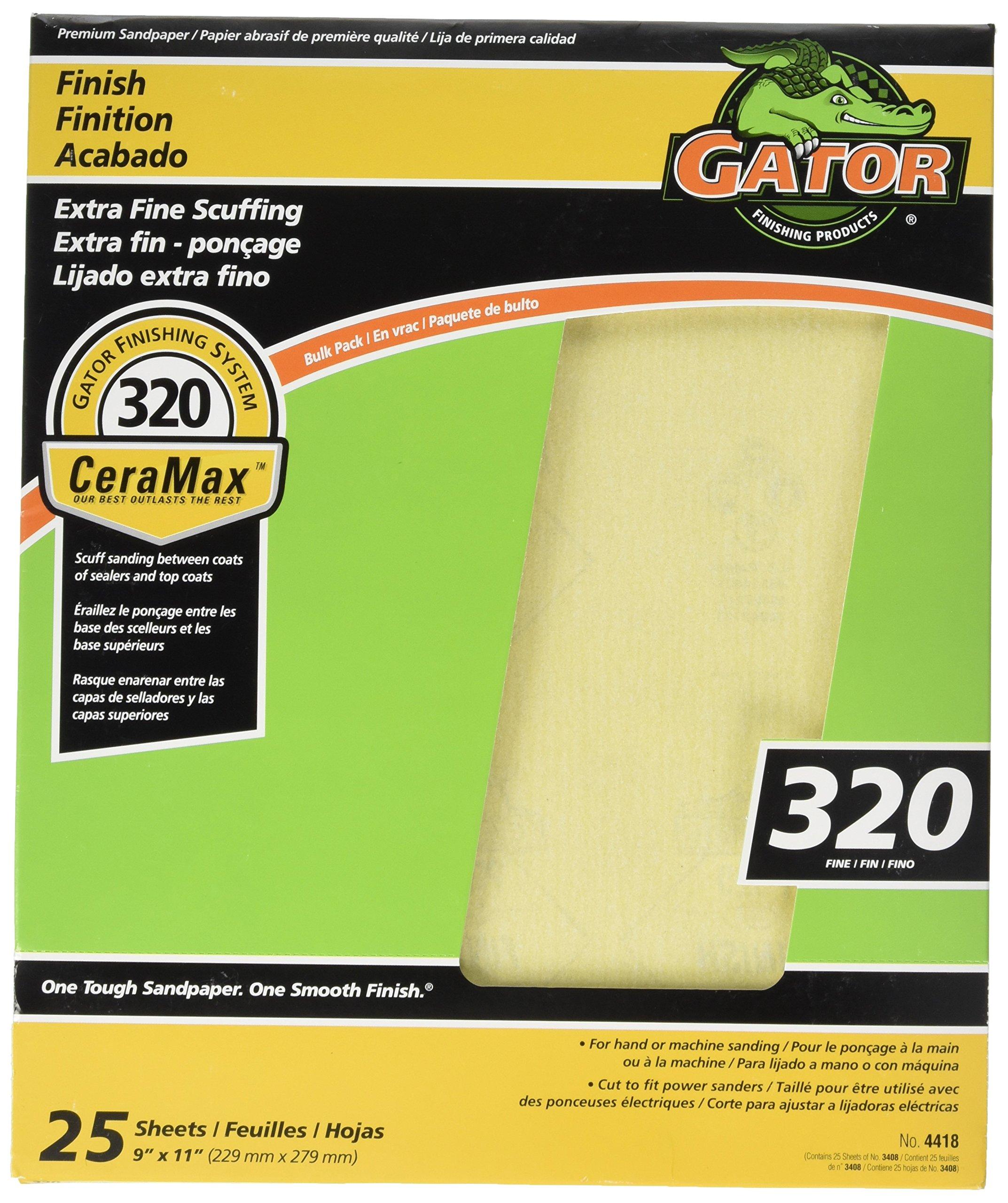 ALI INDUSTRIES 4418 9 x 11'' 320 Grit Fine Bulk Premium Ceramic Sandpaper (25 Pack)
