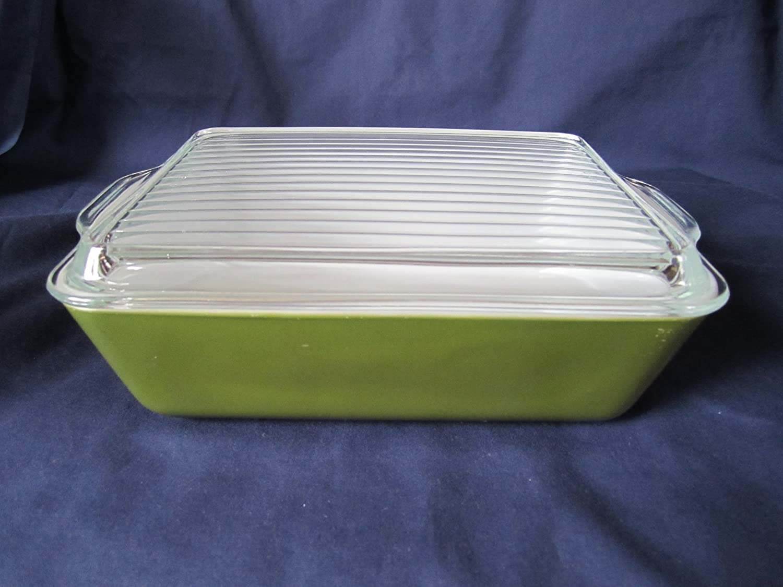 """Vintage 1960s Pyrex """" Verde Olive Green """" Glass Refrigerator Dish - 1 1/2 Quart"""