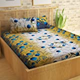 Story@Home Bedsheet for Double Bed With 2 Pillow Covers Combo Set, 100% Cotton - Magic Series, 152 TC, Flora and Fauna (Peacock Blue)