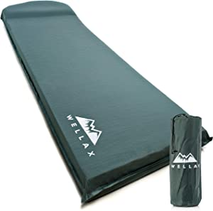 WELLAX UltraThick FlexFoam Sleeping Pad - Self-Inflating 3 Inches Camping Mat for Backpacking, Traveling and Hiking - 3inch Thickness for Better Stability & Support Plus Repair Kit