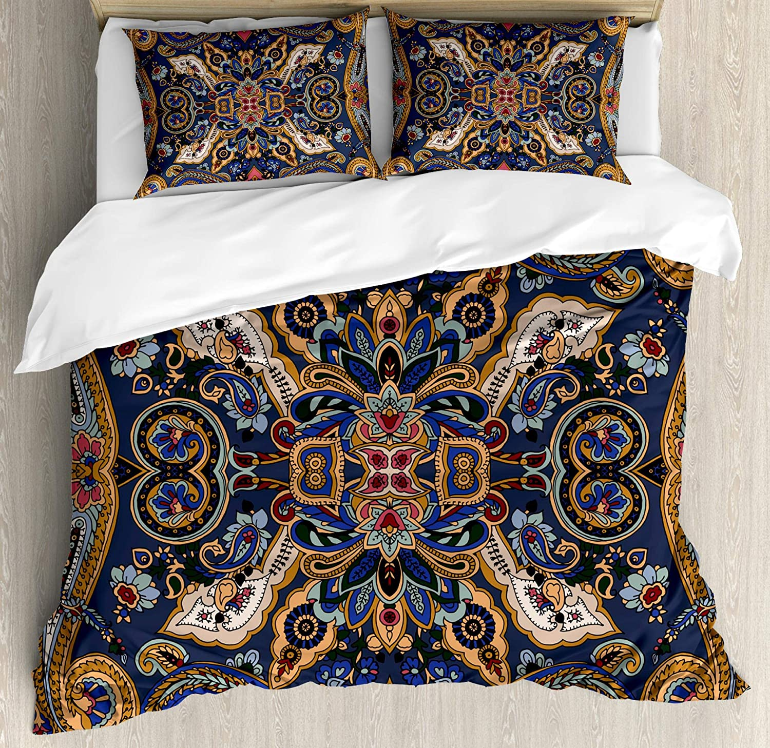 Ambesonne Paisley Duvet Cover Set, Historical Moroccan Florets with Slavic Effects Heritage Design, Decorative 3 Piece Bedding Set with 2 Pillow Shams, Queen Size, Royal Blue and Sand Brown