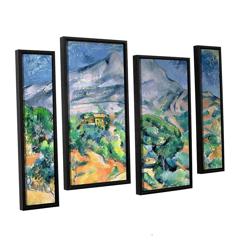 ArtWall 4 Piece Paul Cezannes Mont Sainte Victoire Floater Framed Canvas Staggered Set 36 x 54