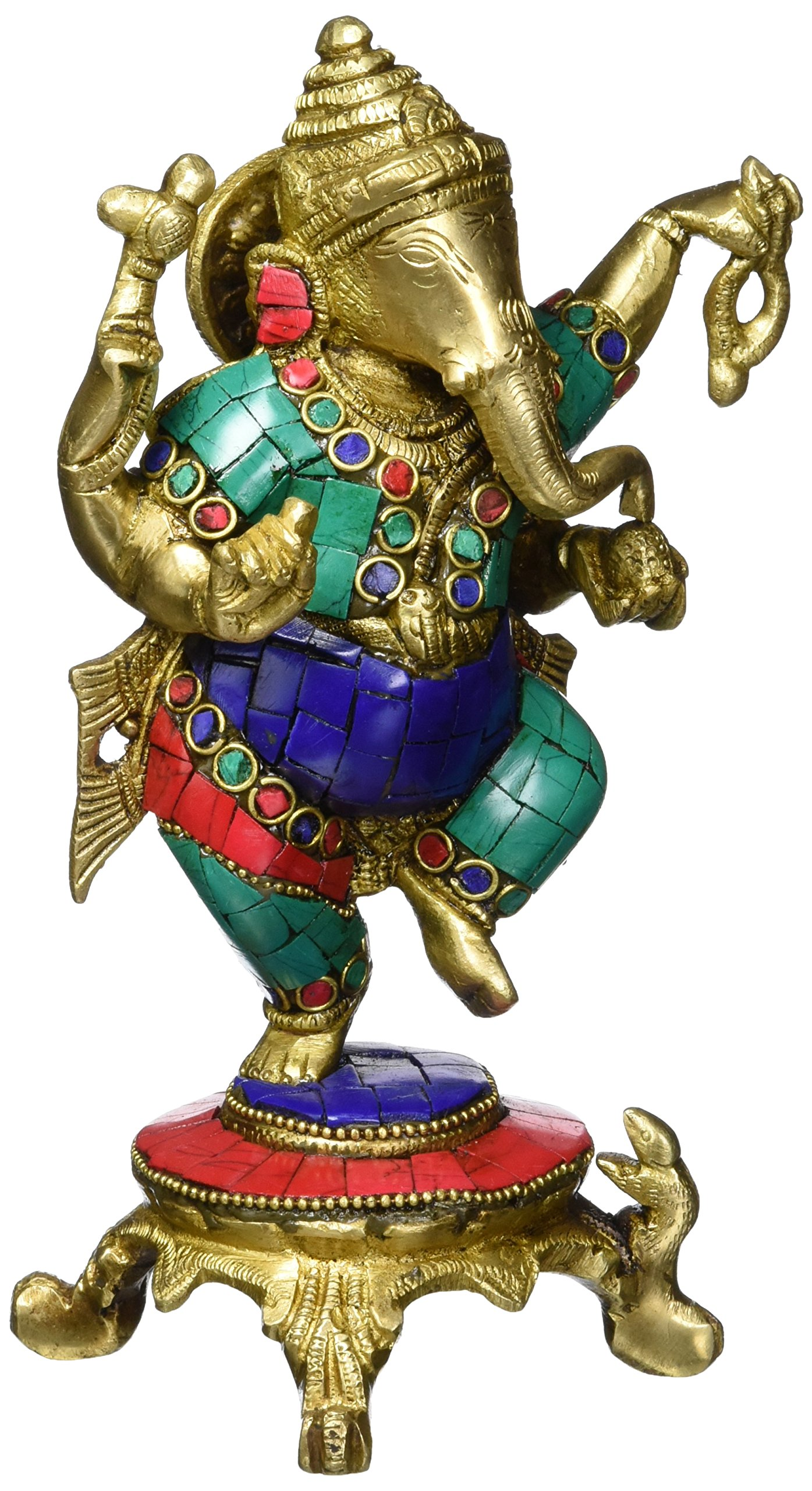 Aone India 8'' Dancing Lord Ganesh Shiva Statue- Brass Bronze Turquoise Handwork Hindu Good Luck God Figurine Xmas Gift + Cash Envelope (Pack Of 10)