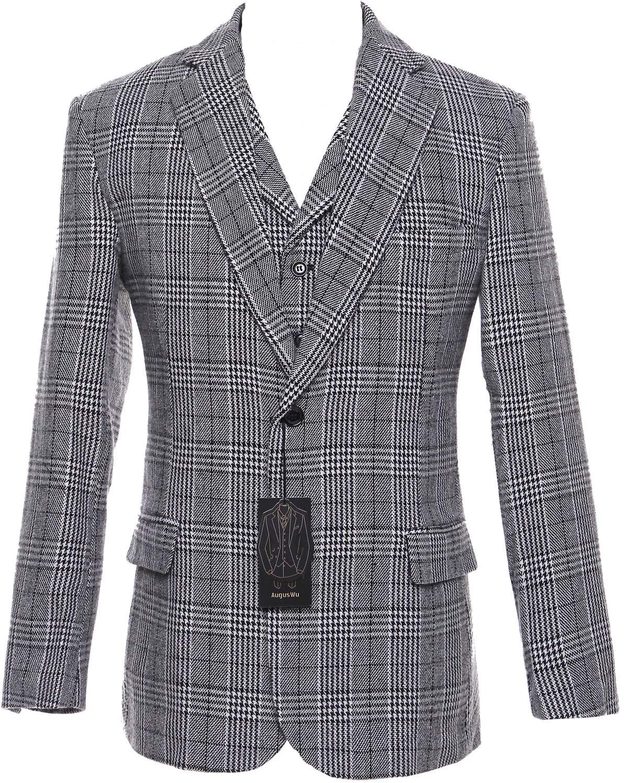 auguswu Grey Wool Plaid Mens Two Button 3 Picec Business Suit Pants Sets 36R