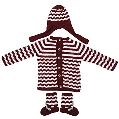 fb6523315 Maple Krafts 100% Wool Hand-Knitted Sweater Baby Boys Girls Full Sleeve  Dailywear Maroon White 0-1 Years: Amazon.in: Clothing & Accessories