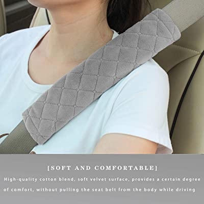 Car Seat Belt Cushions Shoulder Pad Soft Two Packs for All Car Owners for a More Comfortable Driving (Grey): Automotive