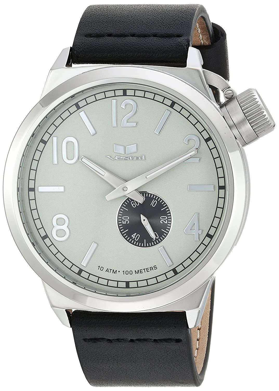 Vestal QuartzステンレススチールandレザーDress Watch, Color : Brown (Model : cnt453l03。BK) B0751KTQ75