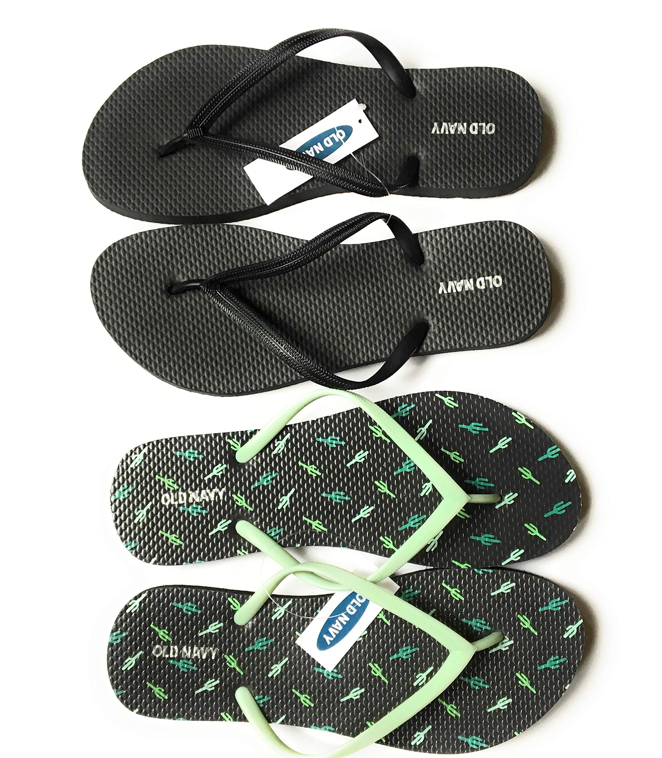 Old Navy Flip Flop Sandals for Woman, Great for Beach or Casual Wear (8, Cactus and Black), (2-Pair)