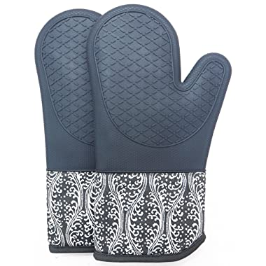 Professional Silicone Oven Mitts/gloves - 1 Pair - Non-slip texture silicone handle / Quilted pad insulation pad High temperature 500 degrees, Suitable for Microwave Grilling Kitchen baking (Gray)