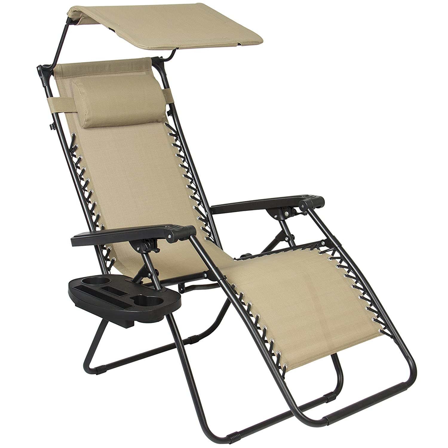 Furniture amp accessories 26 quot camo padded folding anti gravity chair - Amazon Com Best Choice Products Zero Gravity Canopy Sunshade Lounge Chair Cup Holder Patio Outdoor Garden Tan Patio Lawn Garden