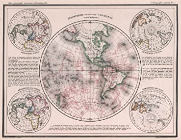 world atlas map 7 hemisphere du nouveau continent et ses antipodes 1834