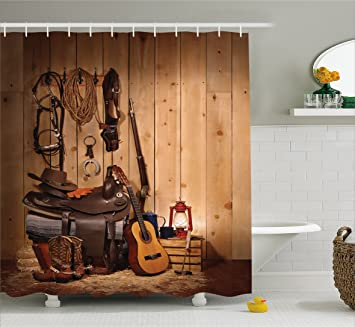 Western Decor Shower Curtain By Ambesonne, American Texas Style Country  Music Guitar Cowboy Boots USA