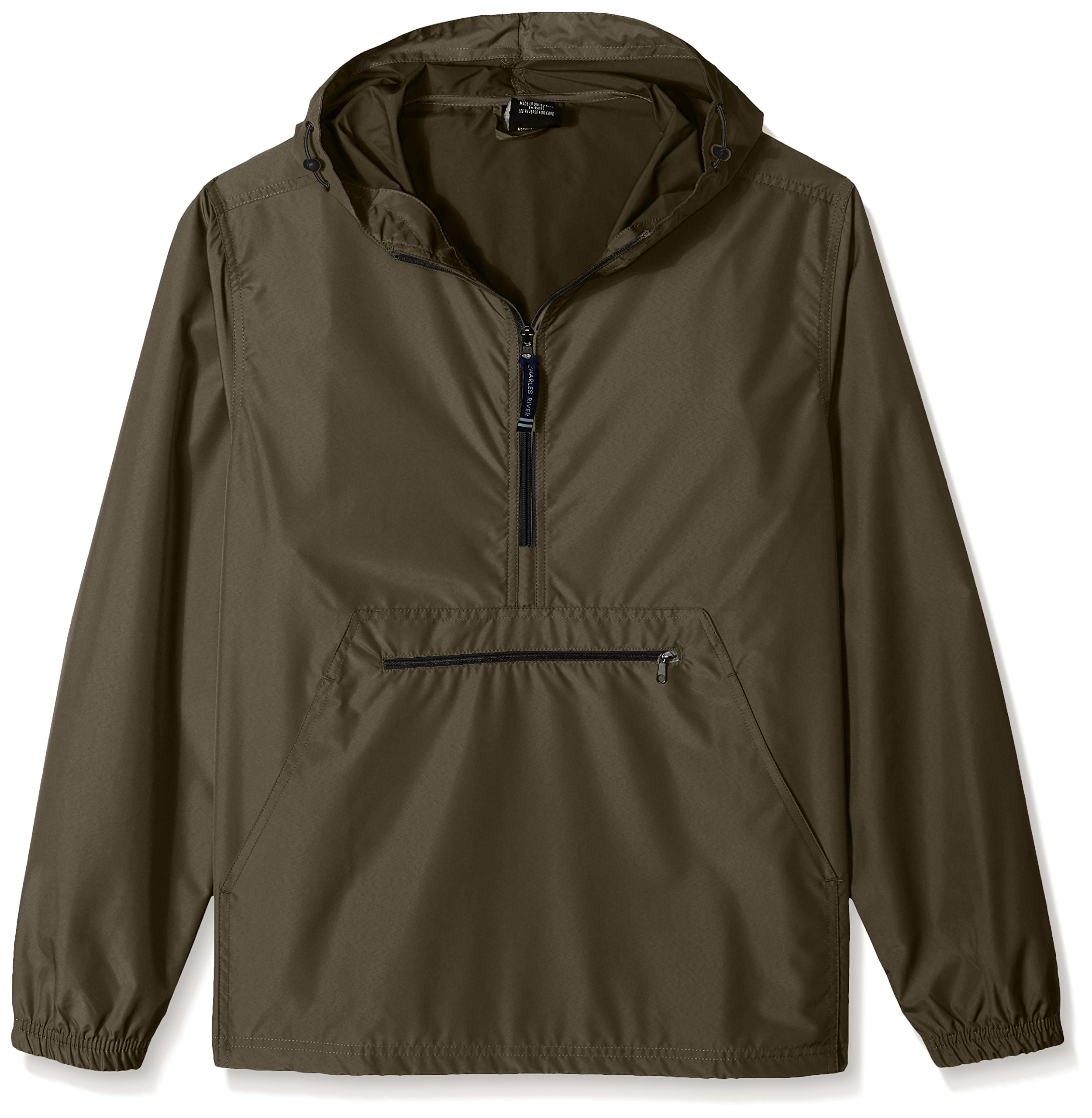 Charles River Apparel Pack-N-Go Wind & Water-Resistant Pullover (Reg/Ext Sizes), Olive, 3XL