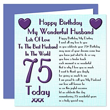 Husband 75th Happy Birthday Card