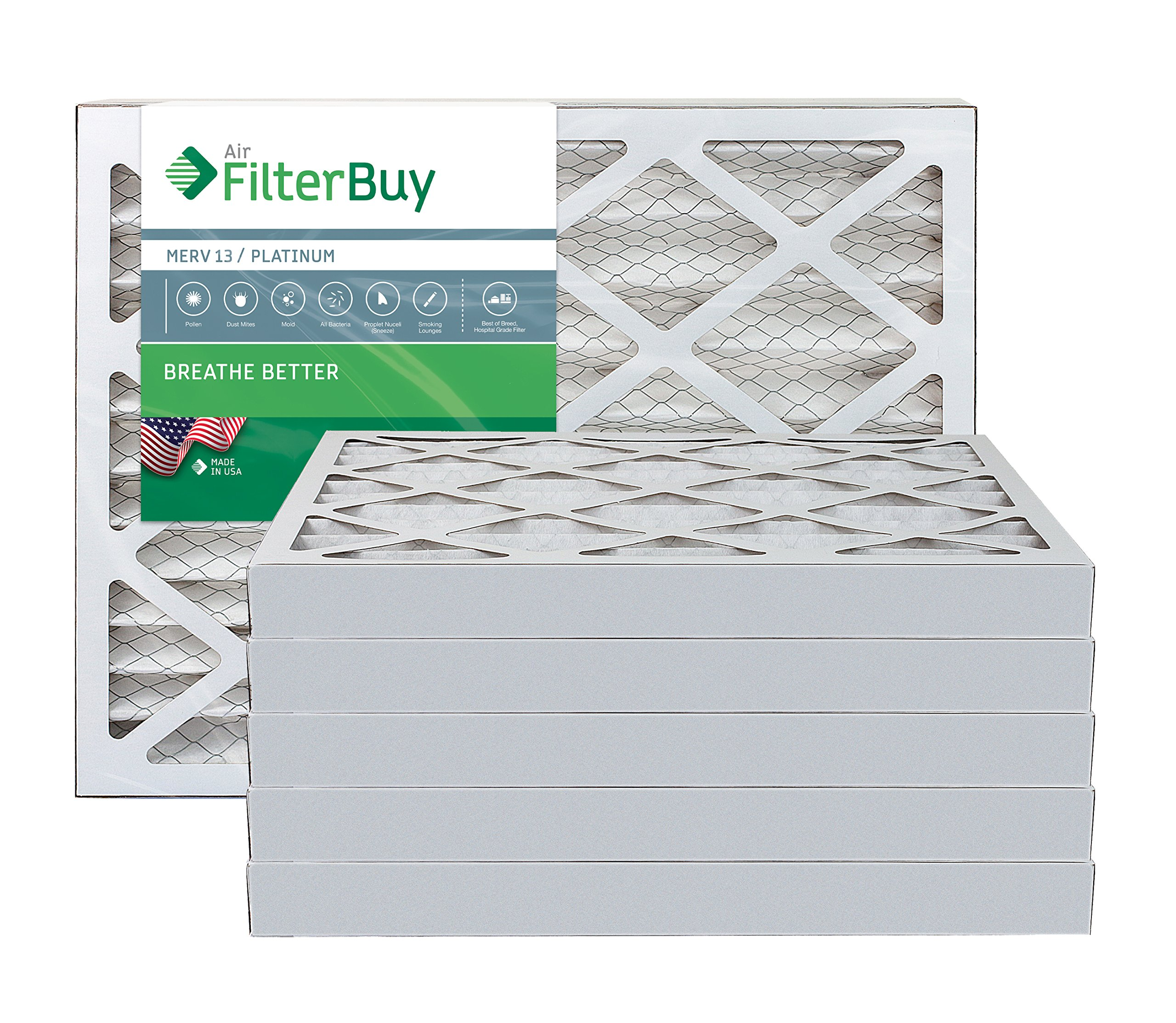 AFB Platinum MERV 13 16x30x2 Pleated AC Furnace Air Filter. Pack of 6 Filters. 100% produced in the USA.