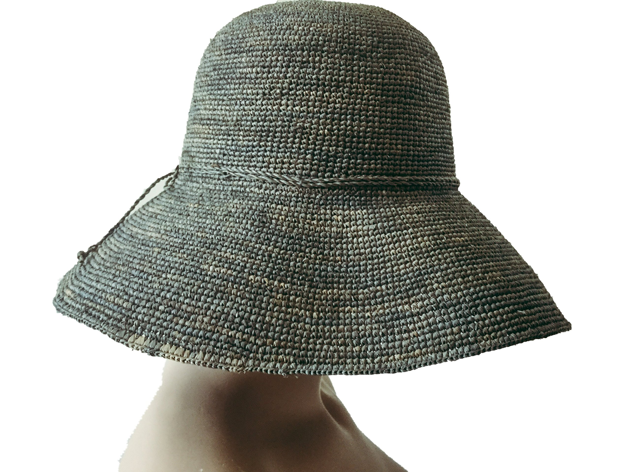 Nora and narahats Grey Raffia Sun Hat 12cm Wide Brim