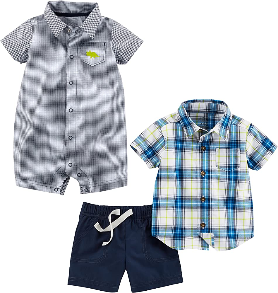 3 Months Carters Baby Boys 2-Piece Chambray Button-Front /& Plaid Short Set