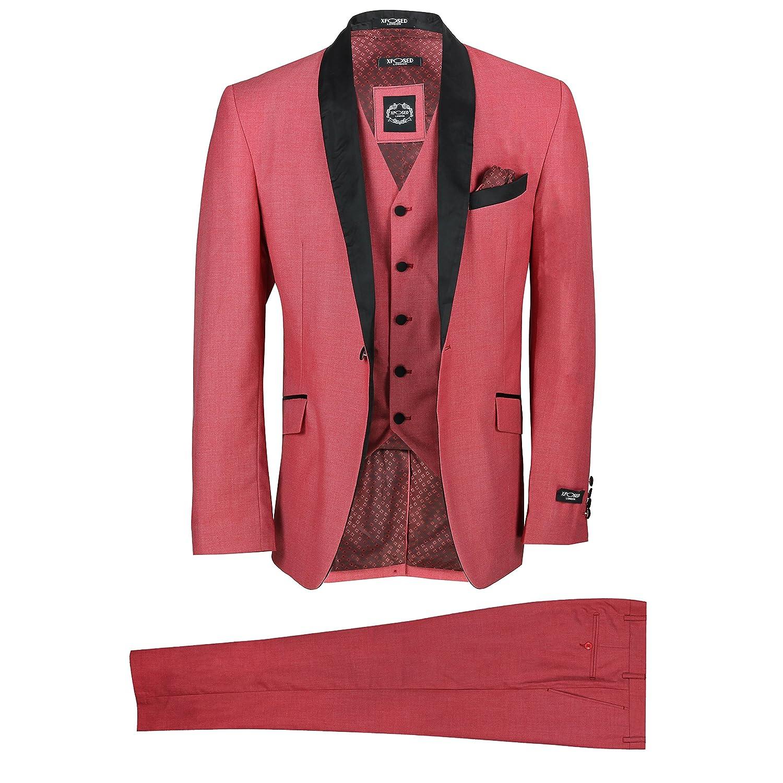 ac574228ba80 Mens 3 Piece Suit Burnt Pink Shawl Lapels Vintage Tailor Fit Wedding Prom:  Amazon.co.uk: Clothing