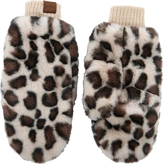 Clair de Lune Universal Stroller Faux Fur Mittens Grey Leopard