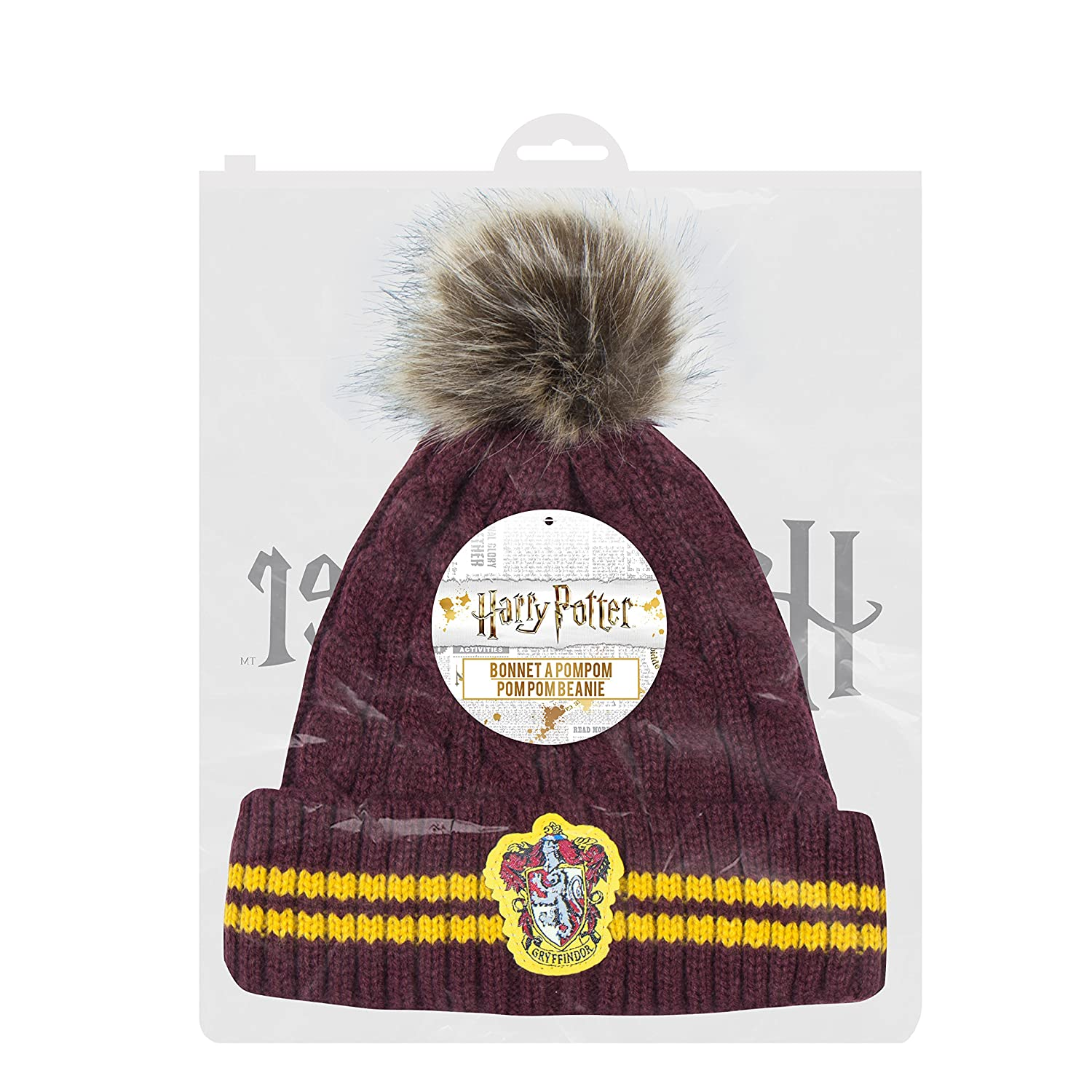 213b445aeee Amazon.com  Cinereplicas Harry Potter Beanie Hat Knit Cap - Official  (Pompom Gryffindor)  Clothing