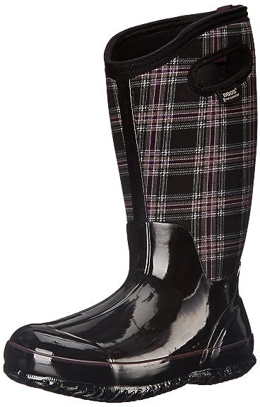Bogs Women's Classic Winter Plaid Wide Calf Waterproof Insulated Boot, Black  Multi