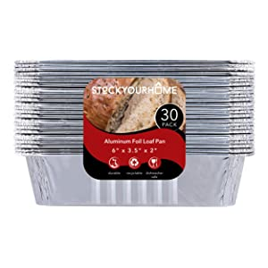 "1 lb Aluminum Foil Loaf Pans (30 Pack) - Disposable Mini Size Bread and Cake Pan Great for Restaurant, Party, BBQ, Catering, Baking, Cooking, Heating, Storing, Prepping Food – 6"" x 3.5"" x 2"""