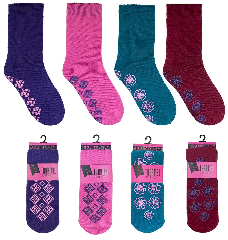 Mens 3 Pairs Slipper Gripper Thermal Socks Non Slip Silicone Grip Winter Warm