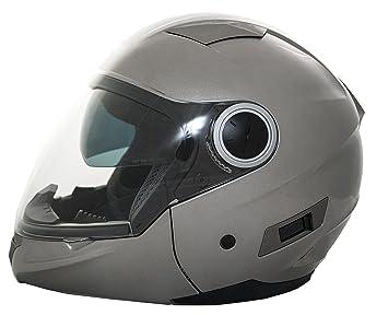 Casco Moto Convertible (Integral/Abierto) LEM - Multi , COLOR PLATA (M