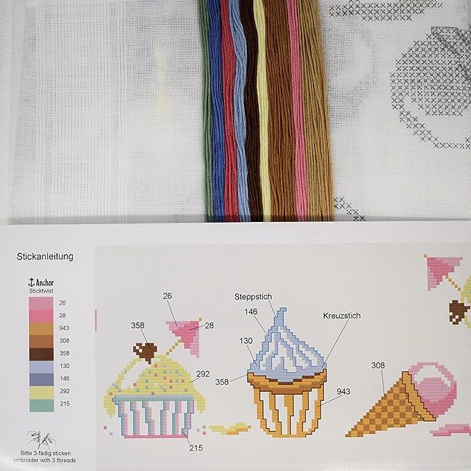 Stickpackung ICE CREAM / Komplettes vorgezeichnetes Tischdecken Set ...