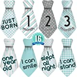 Original Stick'Nsnap (TM) 16 Baby Monthly Necktie Onesie Stickers - 'Happy Patterns' (TM), Turquoise/Gray. Milestones for 12 Months and 4 Milestones