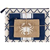 Mud Pie 8613290RD Nautical Sea Icon Carry-All Case Trio Crab Beach Bag,Navy Rope